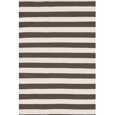 Indoor/Outdoor Trimaran Charcoal/Ivory Striped Rug