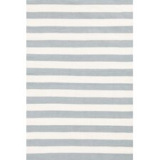 Indoor/Outdoor Trimaran Light Blue/Ivory Striped Outdoor Area Rug