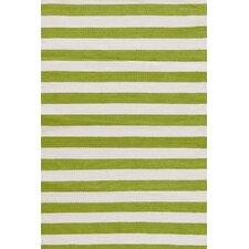 Indoor/Outdoor Trimaran Green/White Striped Outdoor Area Rug