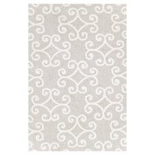 Hooked Scroll Grey Geometric Area Rug