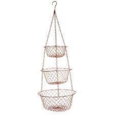 Copper Hanging Fruit Basket or Fruit Bowl 3 Piece Set
