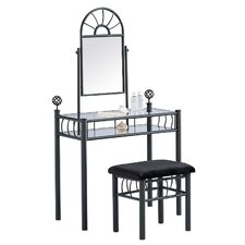 Vanity and Upholstered Bench Set in Black