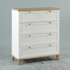 Chicago 3+2 Drawer Chest in White