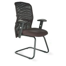 Mesh Back Visitor Chair with Adjustable Arm in Black