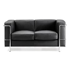 Contemporary Leather Faced 2 Seater Sofa with Chrome Details in Black
