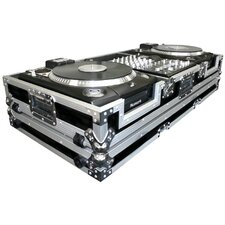 "DJ CD Player Coffin 10"" Mixer Coffin with Low Profile Wheels for 2 Numark CDX or HDX Turntables"