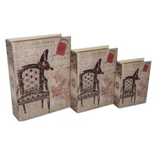 3 Piece Vinyl Book Box with Carte Postal and Vintage Print Set