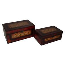 2 Piece Wooden Flat Top Keepsake Box with Mojave Design Set