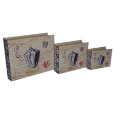 <strong>Cheungs</strong> 3 Piece Lined Keepsake Book Box with Floral Seashell Design Set