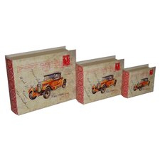 3 Piece Lined Keepsake Book Box with Carte Postal Design and Olde Time Car Set