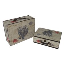 2 Piece Flat Top Keepsake Suit Case with Coral Design Set