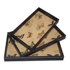 3 Piece Nested Serving Trays with Butterfly Carte Postal Print Set