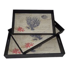 3 Piece Serving Tray with Coral Design Set