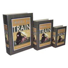 <strong>Cheungs</strong> 3 Piece Book Box with Vintage Train Theme Set