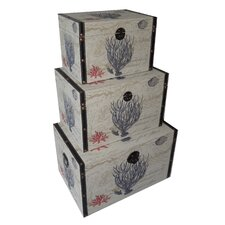 3 Piece Flat Top Keepsake Trunk with Coral Design Set