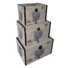 3 Piece Flat Top Keepsake Trunk with Coral Design Set