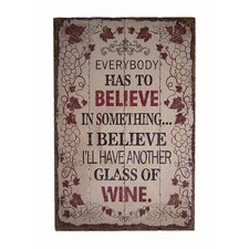 Wooden Wall Art with Wine Textual Art