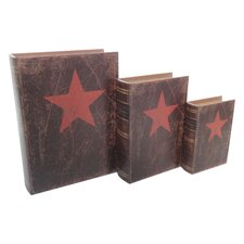 3 Piece Vintage Book Box with Red Star Set