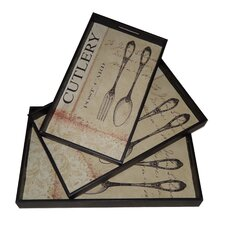 3 Piece Cutlery Design Tray with Side Handle Set
