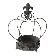 Crown Shaped Open Air Terrarium with Fleur De Lis Topper
