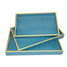 3 Piece Hand Painted Wooden Tray Set with Trim