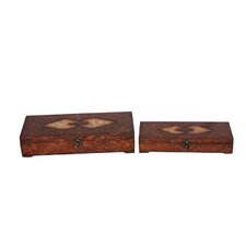 Two Piece Wooden Treasure Chest Set with Marble Design in Brown