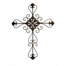 Tall Metal Cross Wall Art in Rustic