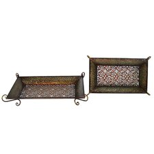 Two Piece Rectangular Tray Set in Multicolor