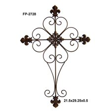 Metal Cross with Fleur De Lis Design