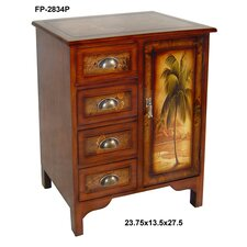 Wooden Palm Tree Design 1 Door Cabinet