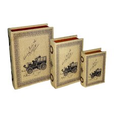 <strong>Cheungs</strong> Book Box with Large Print Vintage Automobiles (Set of 3)
