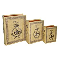 Book Box With Paris, Crown, and Fleur De Lis (Set of 3)