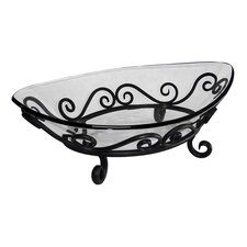 Deep Boat Shaped Glass Bowl on Low Metal Stand with Swirl
