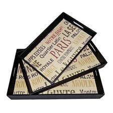 Rectangular Tray with Parisian Typography (Set of 3)