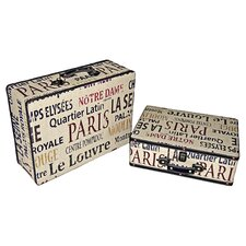 Suitcase with Parisian Typography (Set of 2)