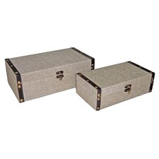 "6"" Rectangular Box in Plain Linen (Set of 2)"