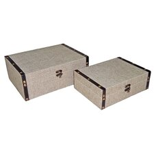 "9"" Rectangular Box in Plain Linen (Set of 2)"