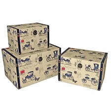 Trunk with Carriage (Set of 3)