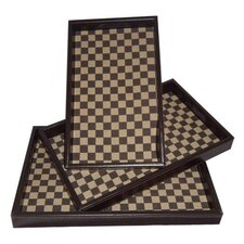 Checker Rectangular Serving Tray (Set of 3)