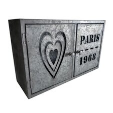 Metal Hanging 2 Door Paris Heart Box