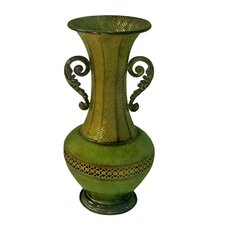 Metal Vase with Detailed Design Cut Out