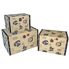 Small Trunk with Vintage Phone (Set of 3)