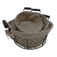Round Lined Wire Basket (Set of 3)