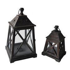 2 Piece Wooden Decorative Lantern Set