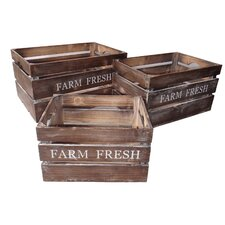 Farm Fresh Wood Crate 3 Piece Set in Brown
