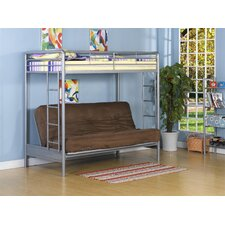 Twin over Futon Low Loft Bed with Built-In Ladder