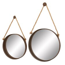 2 Piece Metal Mirror with Rope Set