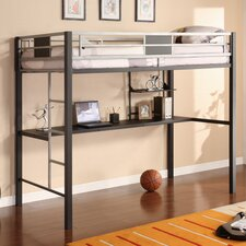 Silver Screen Twin Low Loft Bed with Desk and Built-In Ladder