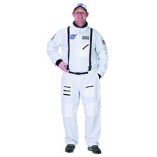 Adult Astronaut Suit with Embroidered Cap Costume in White