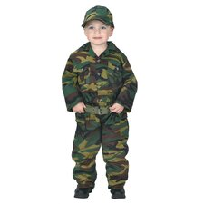 Jr. Camouflage Suit with Cap Costume in Green